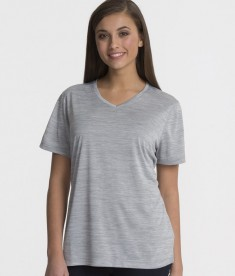 Charles River Apparel Grey Women's Space Dye Performance Tee - model