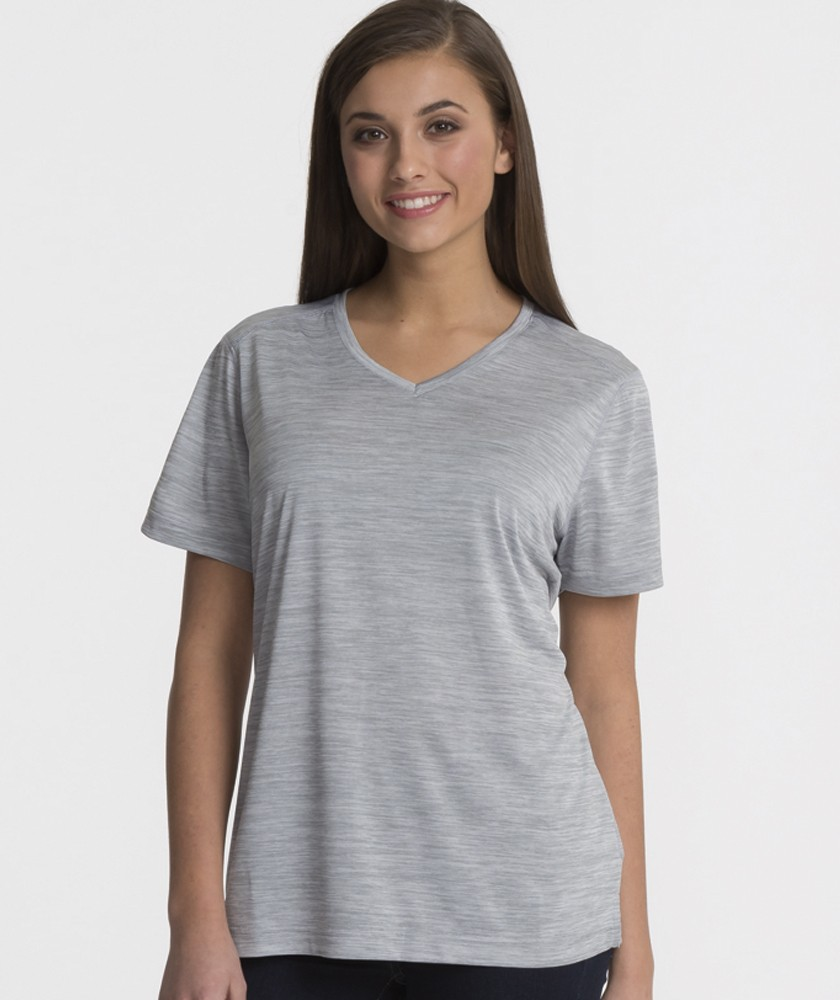 Charles River Apparel Grey Women's Space Dye Performance Tee – model