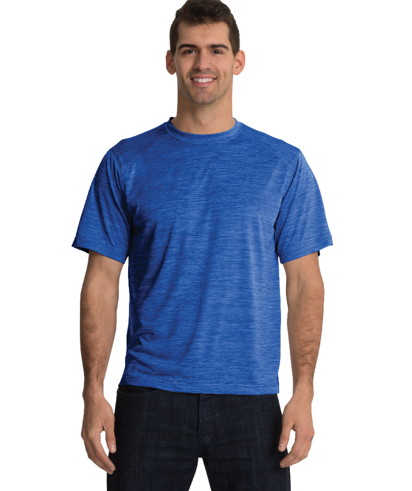 Charles River Apparel Royal Men's Space Dye Performance Tee – model