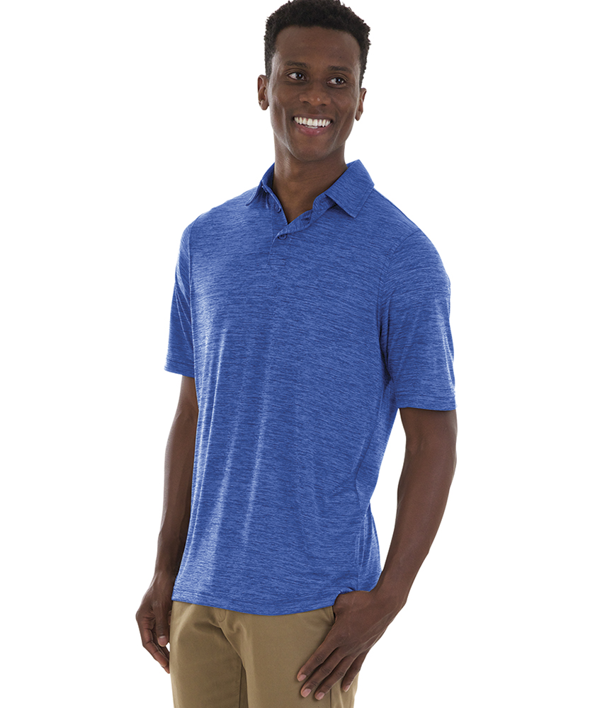 Charles River Apparel Style 3814 Royal Men's Space Dye Polo Shirt – model