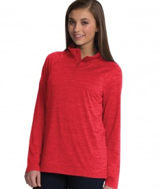 Charles River Apparel Red Women's Space Dye Performance Pullover - model