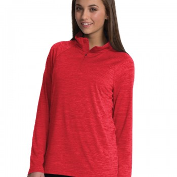 Charles River Apparel Red Women's Space Dye Performance Pullover – model