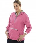 Charles River Apparel Style 5809 Neon Pink Women's Chatham Anorak Solid  - model