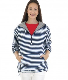 Charles River Apparel Style 5809P Navywhite Stripe Women's Chatham Anorak Print - model