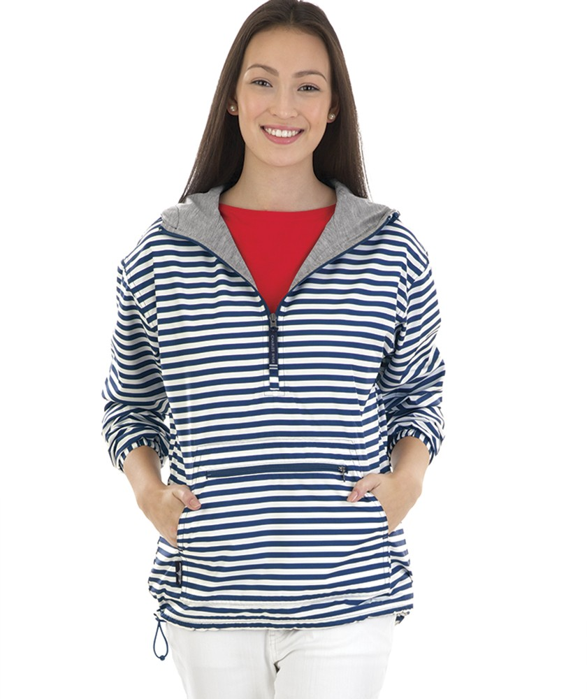 Charles River Apparel Style 5809P Navywhite Stripe Women's Chatham Anorak Print – model