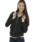 Charles River Apparel Style 5824 Women's Boston Flight Jacket - Black - model