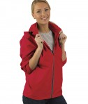Charles River Apparel Red Pack-N-Go Full Zip Reflective Jacket - female model