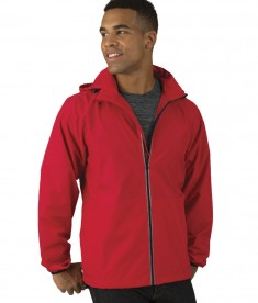 Charles River Apparel Red Pack-N-Go Full Zip Reflective Jacket - male model