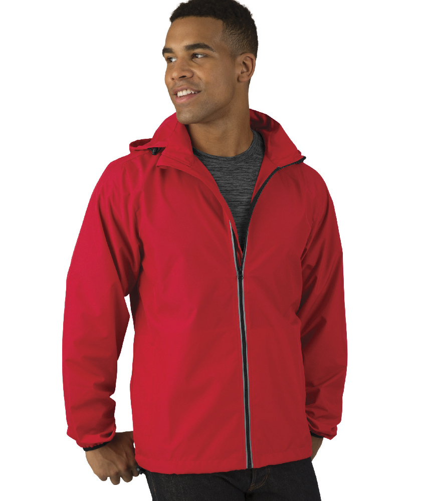 Charles River Apparel Red Pack-N-Go Full Zip Reflective Jacket – male model