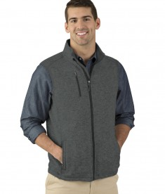 Charles River Apparel Style 9722 Charcoal Heather Pacific Heathered Fleece Vest  - model