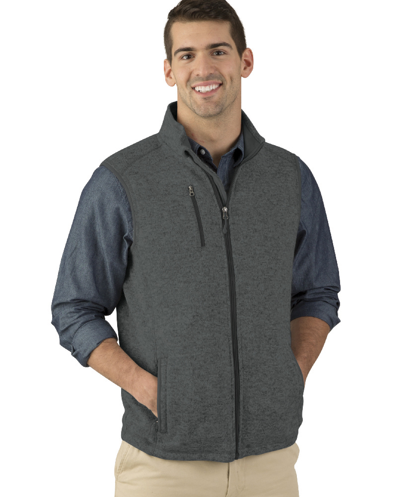 Charles River Apparel Style 9722 Charcoal Heather Pacific Heathered Fleece Vest  – model