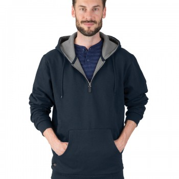Charles River Apparel Navy Men's Tradesman Quarter Zip Jacket – model