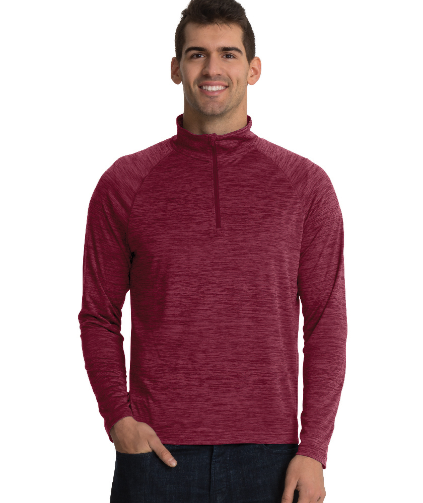 Charles River Apparel Maroon Men's Space Dye Performance Pullover – model
