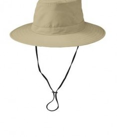 Port Authority Lifestyle Brim Hat Style C921- Stone w/ neck cord