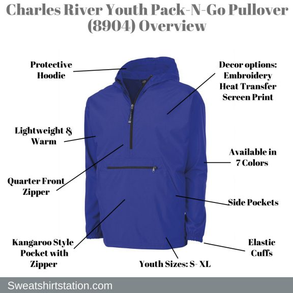 Charles River 8904 Youth Pack-N-Go Pullover Overview