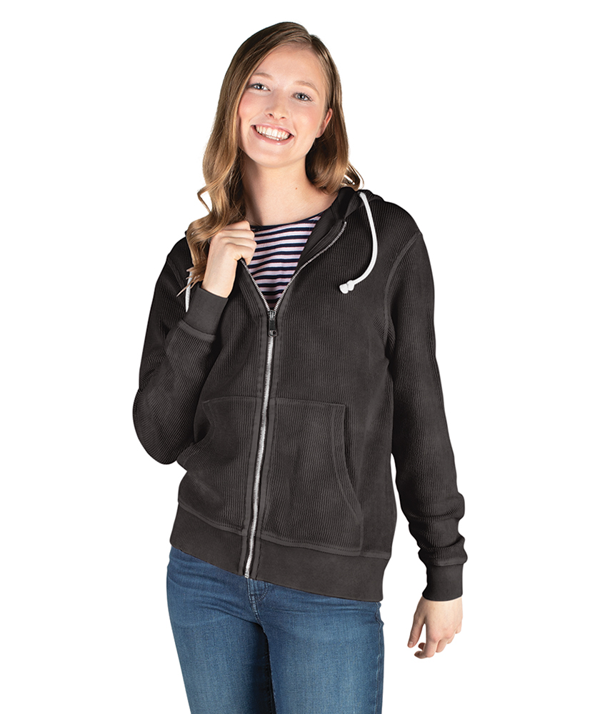 Charles River Adult Camden Full Zip Hoodie (9037) Vintage Black Model Women