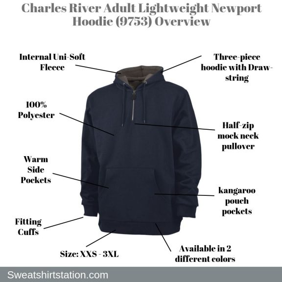 Charles River Adult Lightweight Newport Hoodie (9753) Overview