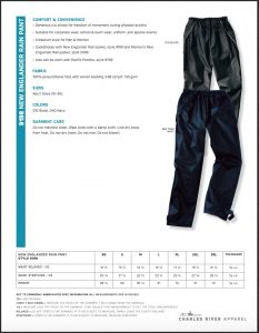 Charles River Adult New Englander Rain Pant (9198) Colors and Sizes