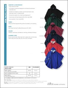 Charles River Adult Pacific Poncho (9709) Colors and sizes