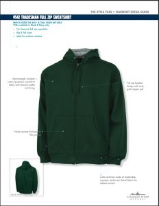 Charles River Adult Tradesman Full Zip Sweatshirt Features
