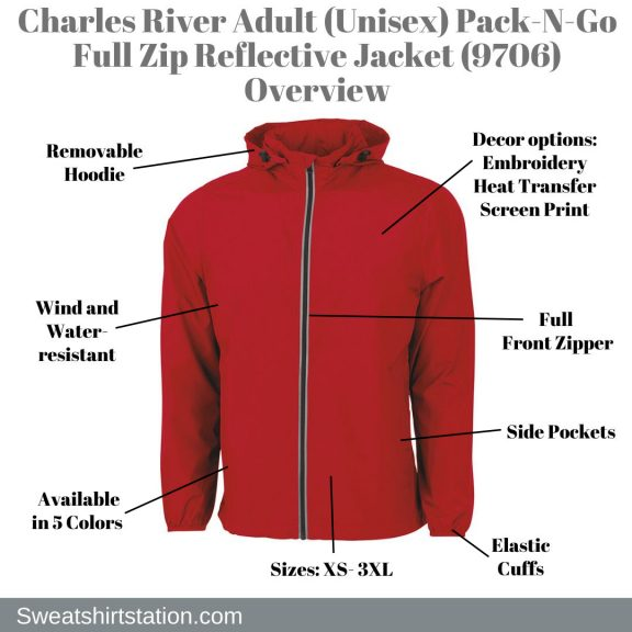 Charles River Adult (Unisex) Pack-N-Go Full Zip Reflective Jacket (9706) Overview