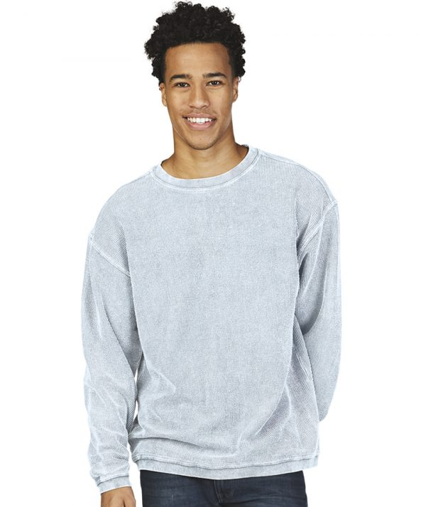 Charles River Apparel Camden Crew Neck Sweatshirt 9930 Chambray Model