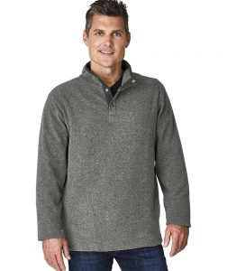 Charles River Apparel Men's Bayview Fleece Pullover 9825 Steel Heather Model