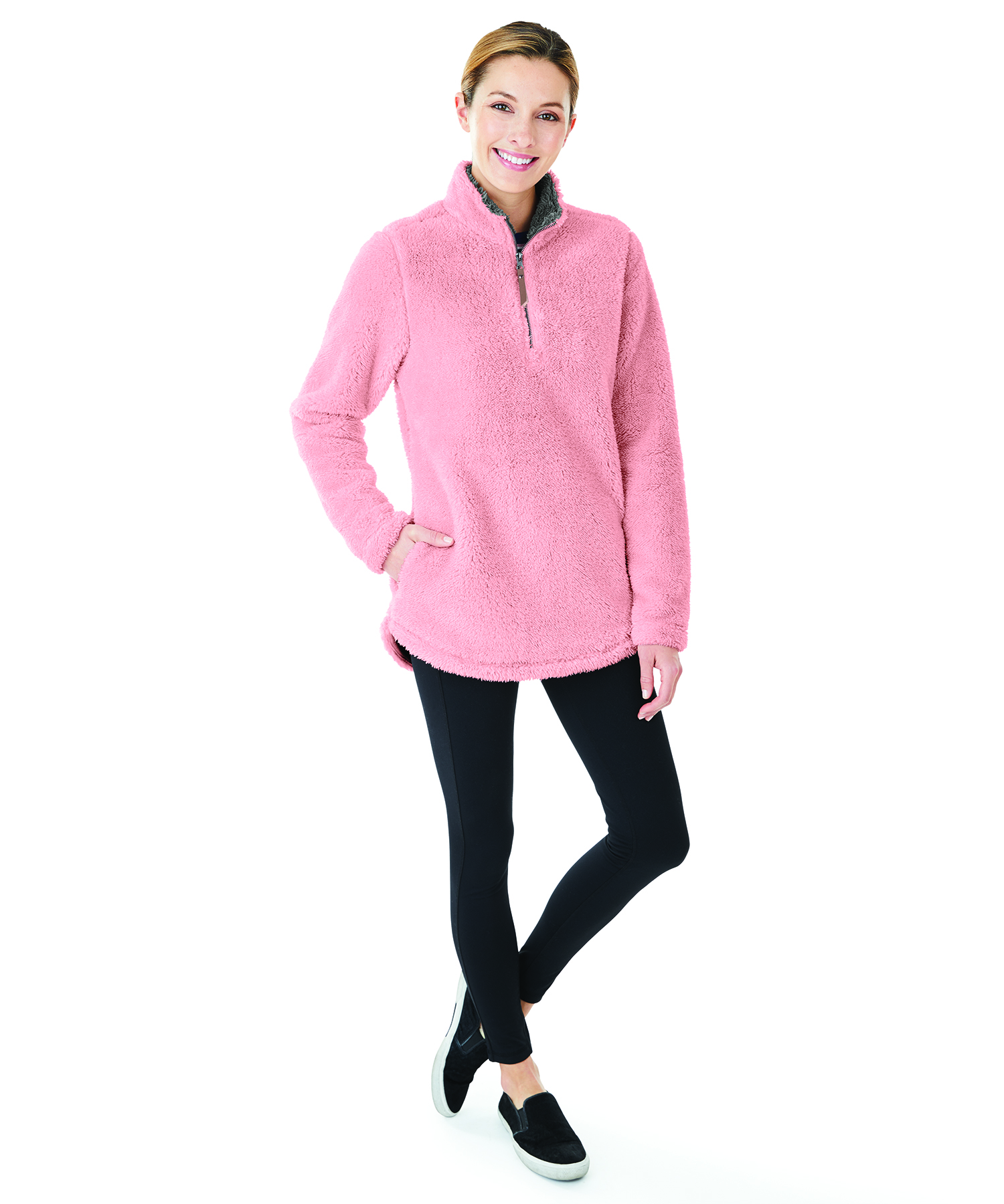 Charles River Apparel Women's Newport Fleece Pullover Style 5876 Model Powder Pink