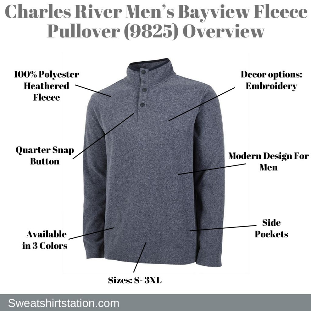 Charles River Men's Bayview Fleece Pullover (9825) Overview