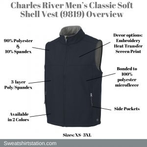 Charles River Men's Classic Soft Shell Vest (9819) Overview