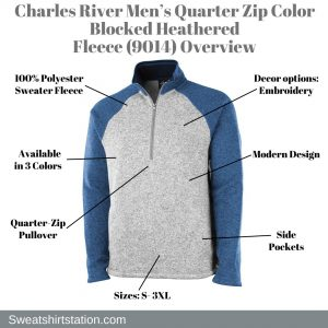 Charles River Men's Quarter Zip Color Blocked Heathered Fleece (9014) Overview
