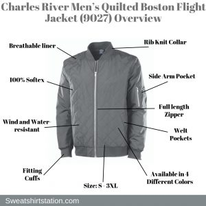 Charles River Men's Quilted Boston Flight Jacket (9027) Overview