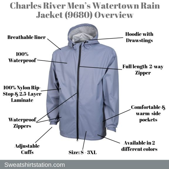 Charles River Men's Watertown Rain Jacket (9680) Overview