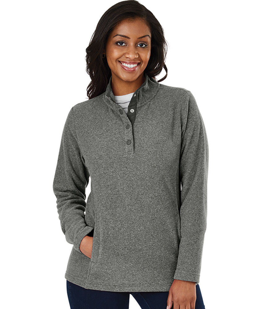 Charles River Women's Bayview Fleece Pullover 5825 Steel Heather Model