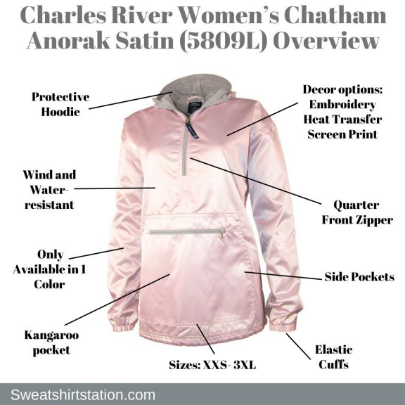 Charles River Women's Chatham Anorak Satin (5809L) Overview