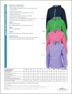 Charles River Women's Chatham Anorak Solid (5809) Color and sizes
