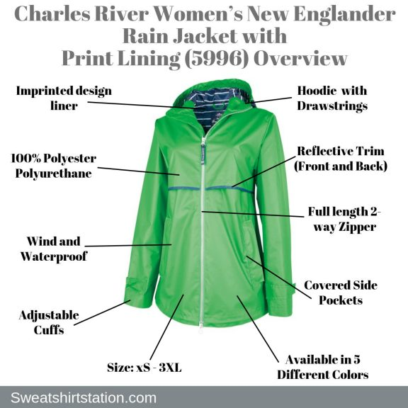 Charles River Women's New Englander Rain Jacket with Print Lining (5996) Overview