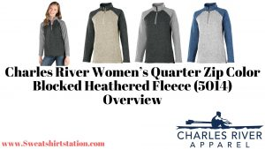 Charles River Women's Quarter Zip Color Blocked Heathered Fleece (5014) color and styles