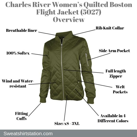 Charles River Women's Quilted Boston Flight Jacket (5027) Overview
