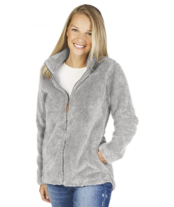 Charles River Women's Newport Full Zip Fleece Jacket 5978 Light Grey Model