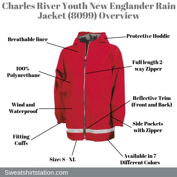 Charles River Youth New Englander Rain Jacket (8099) Overview
