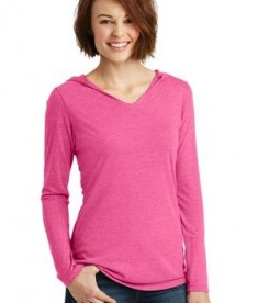 District Made Ladies long sleeve hoodie style DM139L - fuchsia frost