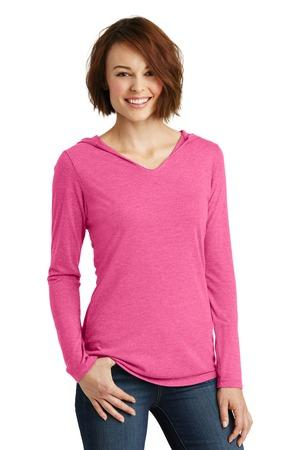 District Made Ladies long sleeve hoodie style DM139L – fuchsia frost
