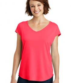 District Made Ladies Drapey Cross Back Tee Style DM416 - Hot Coral