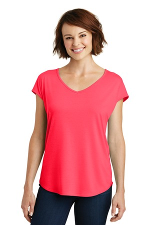 District Made Ladies Drapey Cross Back Tee Style DM416 – Hot Coral