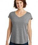 District Made Ladies Drapey Cross Back Tee Style DM416 - Heathered Nickel