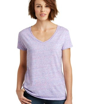 District Made Ladies Cosmic Relaxed V-Neck Tee Style DM465 – White/Pink Cosmic