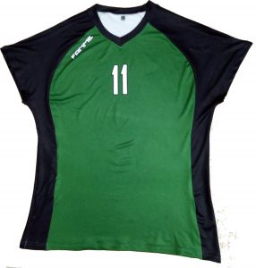 Green with White Volleyball Sublimation Uniform Front Team Fanme Womens