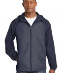 Sport-Tek Heather Colorblock Raglan Hooded Wind Jacket - True Navy Heather/True Navy