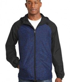 Sport-Tek Heather Colorblock Raglan Hooded Wind Jacket - True Royal Heather/Black